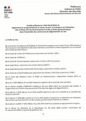 ARRETES PREFECTORAUX DU 09/06/2021 au 29/06/2021 INCLUS