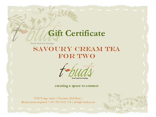 Gift çard: Savoury Cream tea for Two