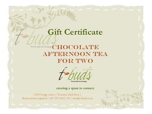 Gift Card: Chocolate Afternoon Tea for Two
