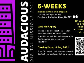 Upcoming Event > Audacious 2021   Closing Date: 10 Aug 2021
