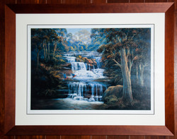 Waterfall Print in Walnut Frame