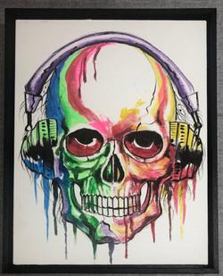 Skull Canvas in Black Float