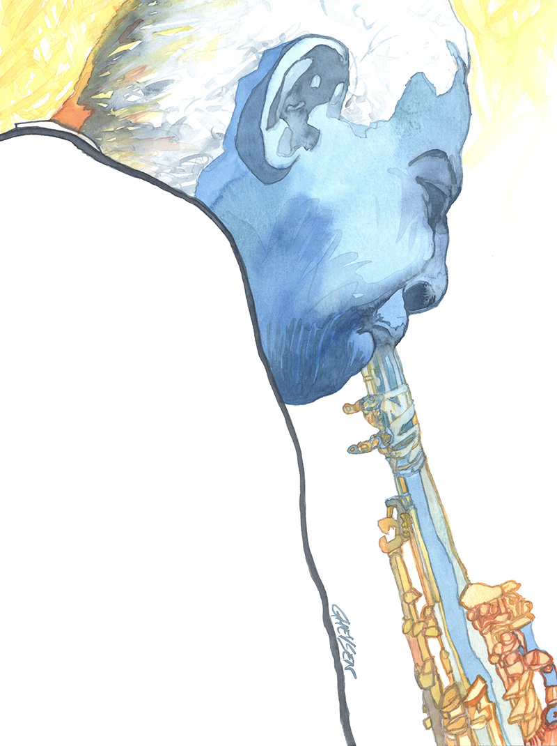 Illustration clarinettiste jazz