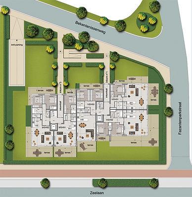 Plan d'étage de la résidence Norfolk à Coxyde