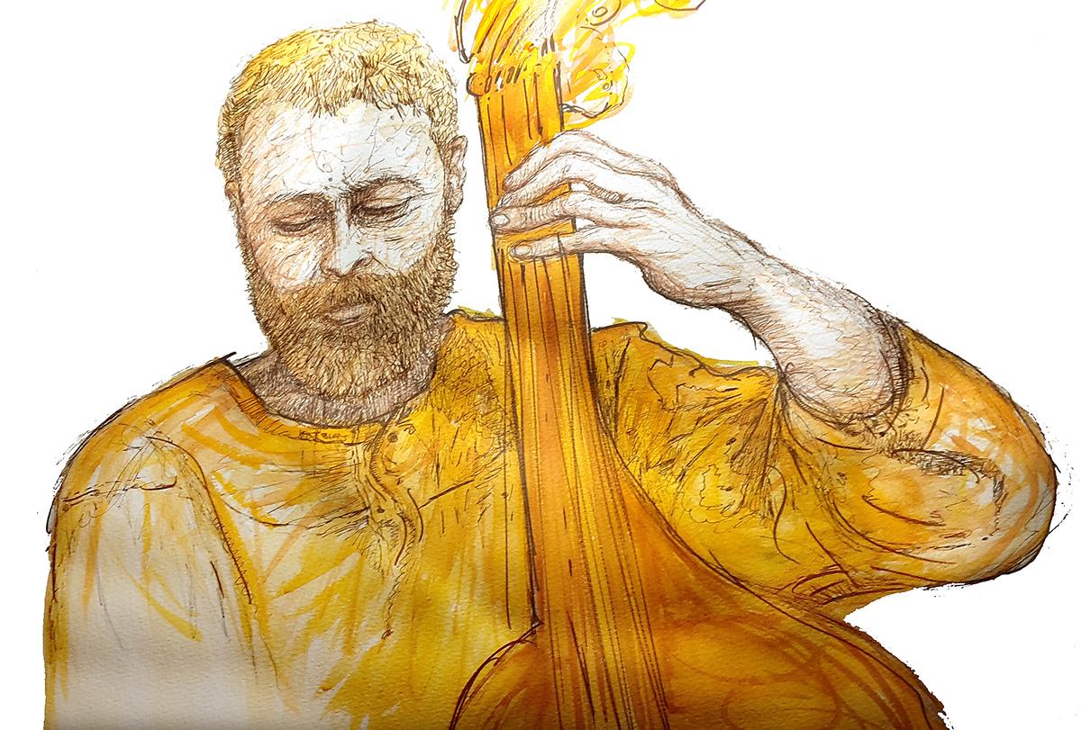 Illustration bassiste Jazz