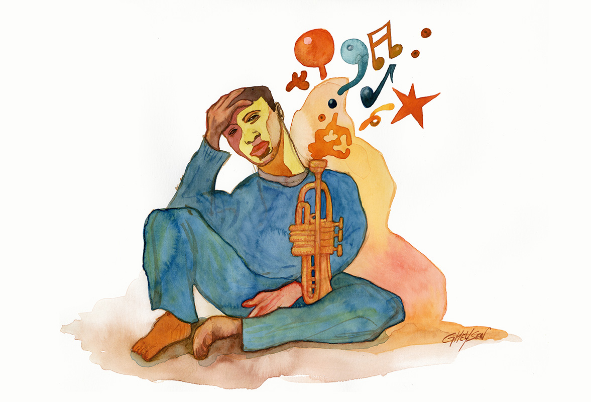 Illustration trompettiste Jazz