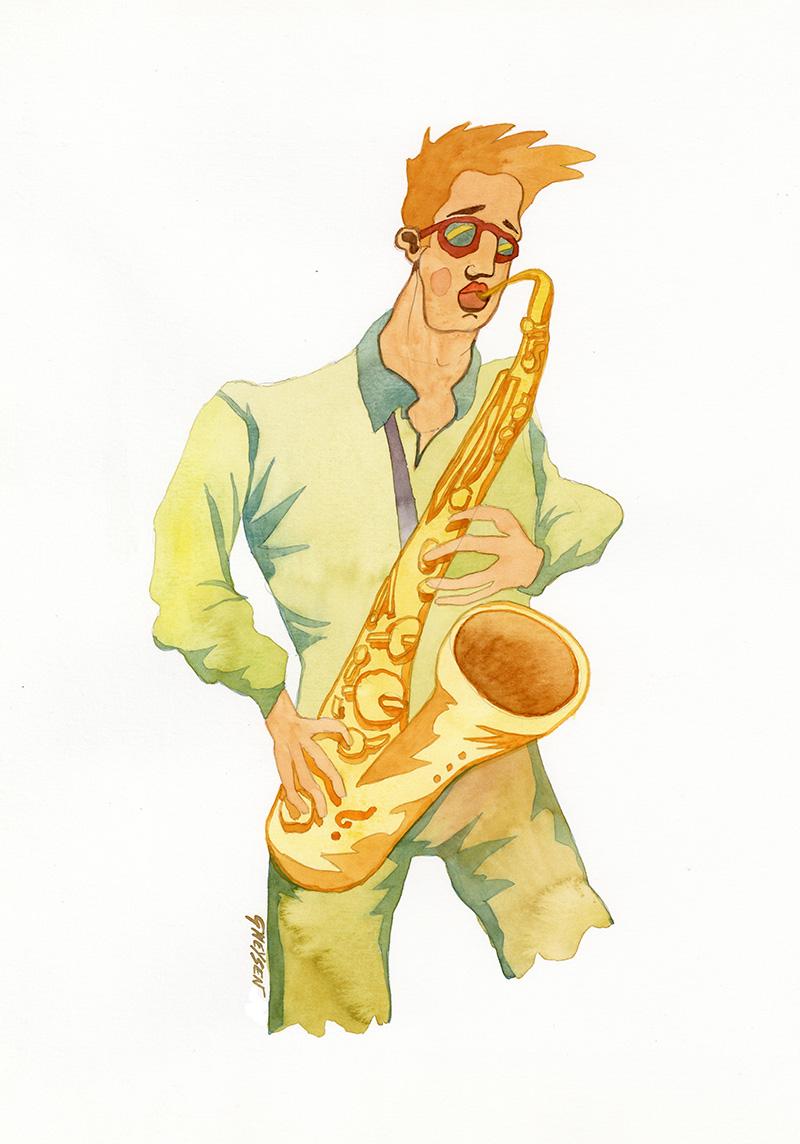 Illustration saxophoniste Jazz