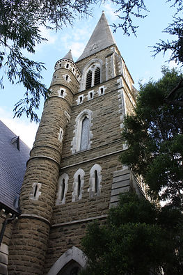The spire at Toorak Uniting Church
