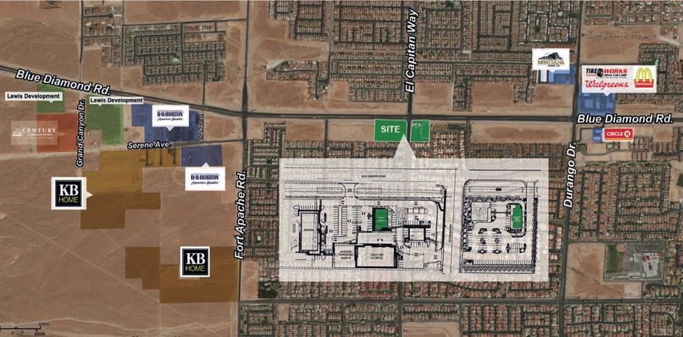 Map of retail development on southwest corner of Blue Diamond & El Capitan