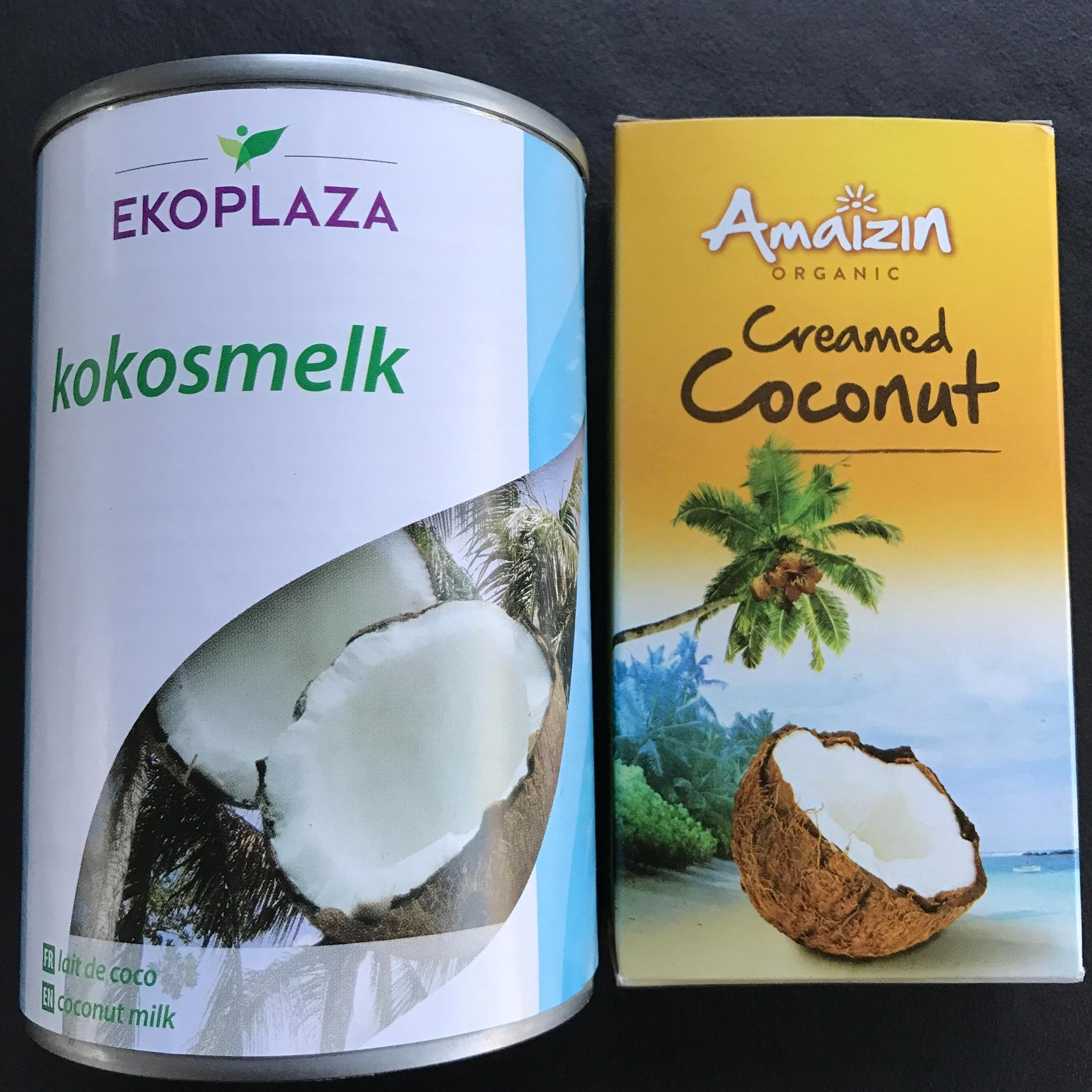 kokosmelk (dun) en kokosboter