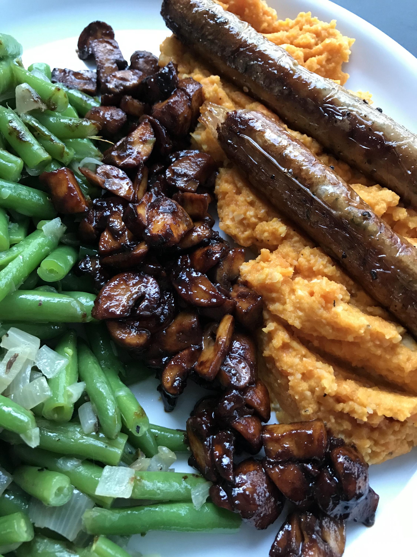 champignonspekjes, een hartige toets bij wortelpuree en sperzieboontjes