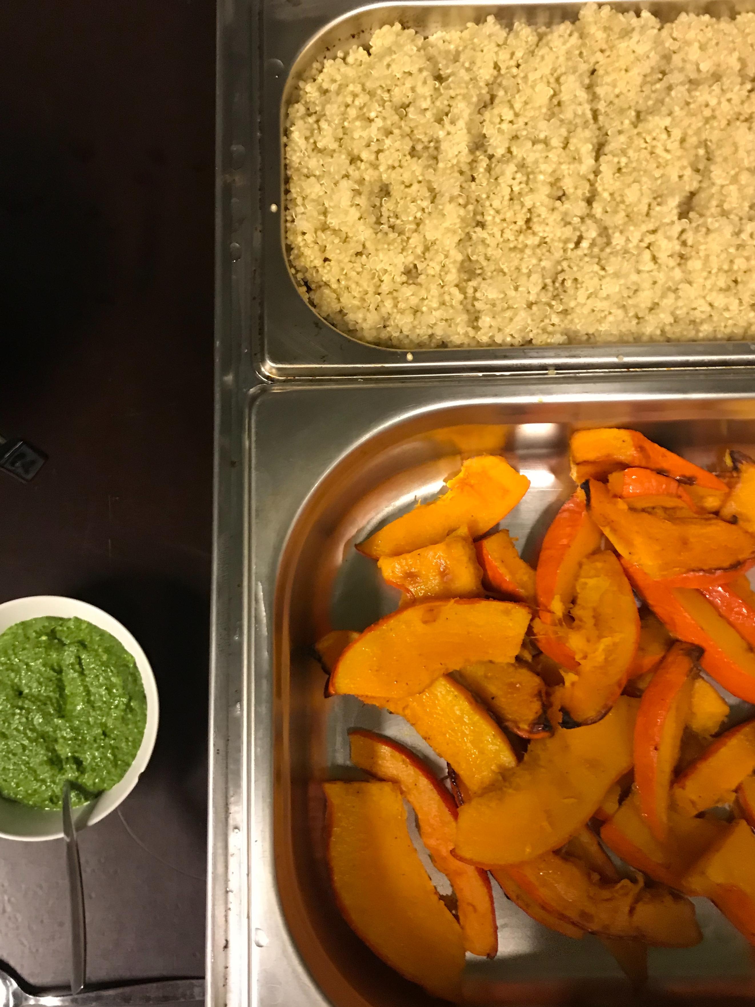 zucca in agrodolce met spinaziepesto