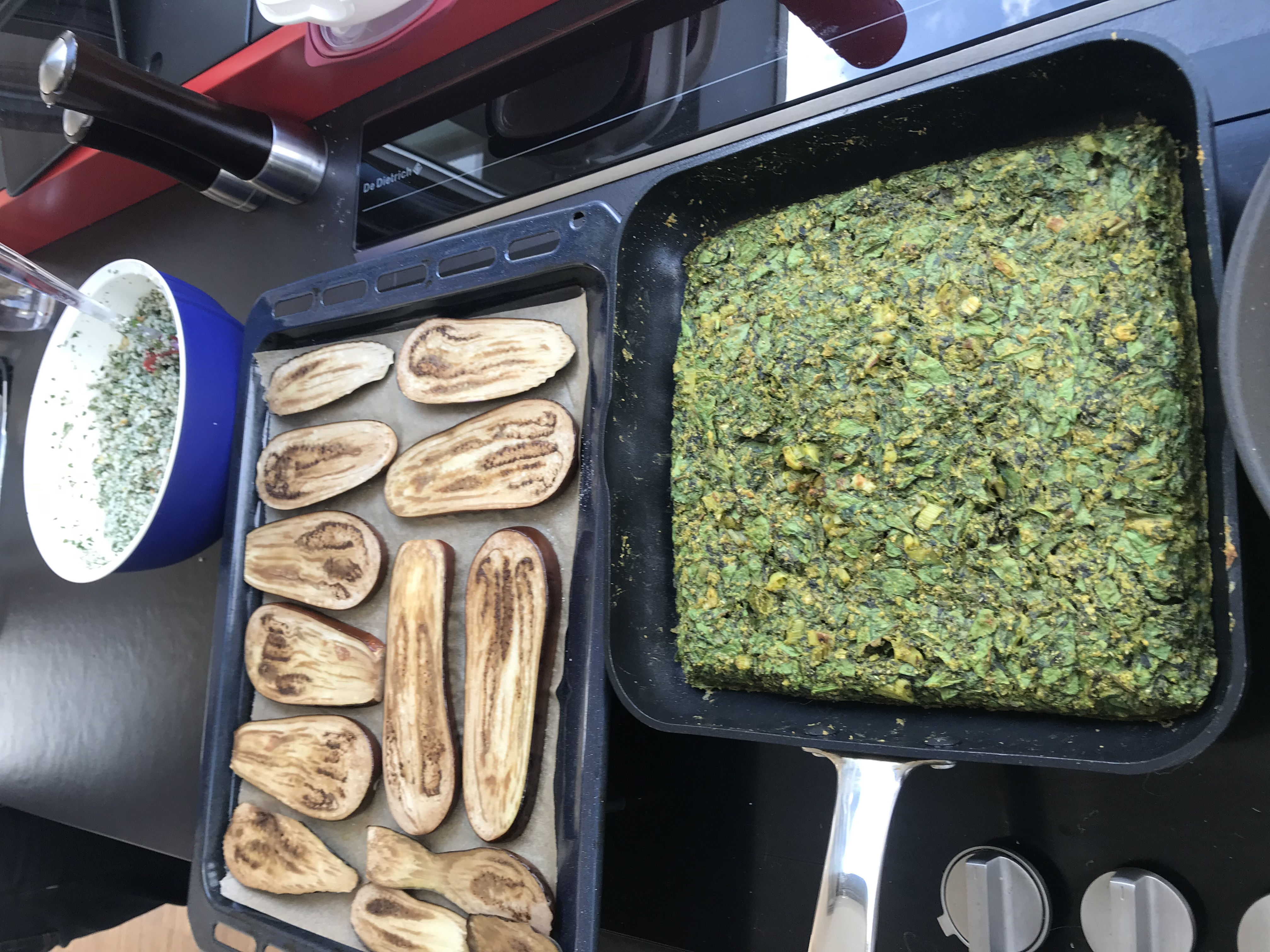 prepping kuku en auberginerolletjes