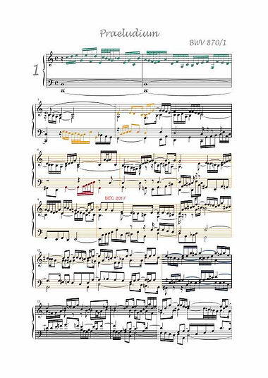 The Well-Tempered Clavier II, BWV 870, prelude & fugue, anlysis in color with postgraduate level commentaries
