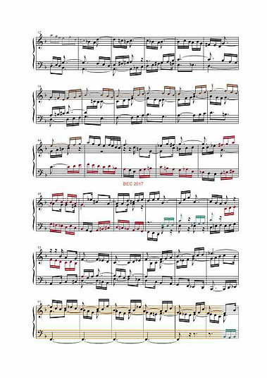 The Well-Tempered Clavier II, BWV 880, prelude & fugue, analysis in color with postgraduate level commentaries