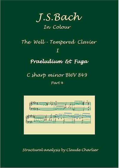The Well-Tempered Clavier I, BWV 849, prelude & fugue, analysis in color with postgraduate level commentaries