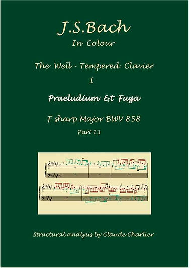 The Well- Tempered Clavier I, BWV 858, analysis in color with postgraduate level commentaries