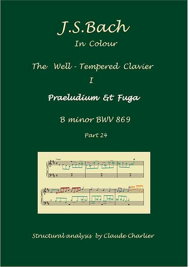 The Well-Tempered Clavier I, BWV 869, prelude & fugue, analysis in color with postgraduate level commentaries