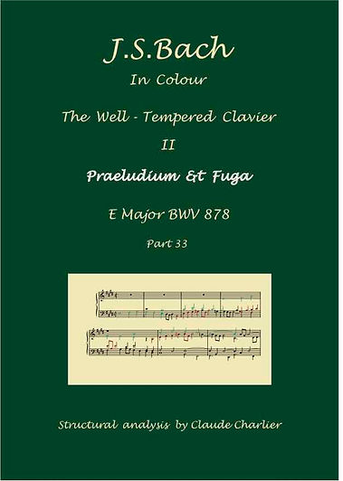 The Well-Tempered Clavier II, BWV 878, prelude & fugue, analysis in color with postgraduate level commentaries