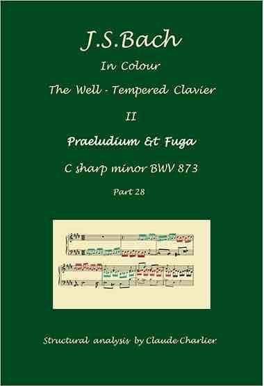 The Well-Tempered Clavier II, BWV 873, prelude & fugue, analysis in color with postgraduate level commentaries