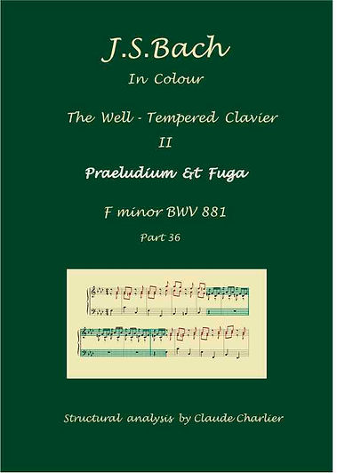 The Well-Tempered Clavier II, BWV 881, prelude & fugue, analysis in color with postgraduate level commentaries