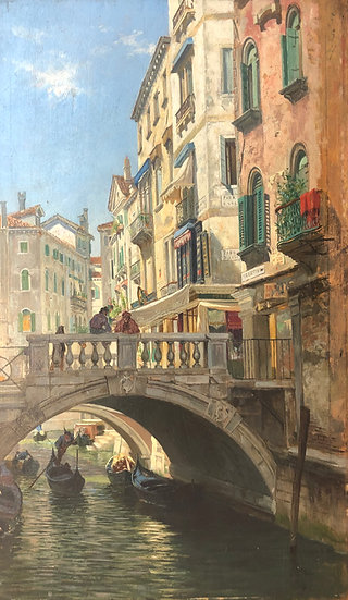 View from Venice, Sunny Morning Mood at the Ponte dei Bareteri, 1883