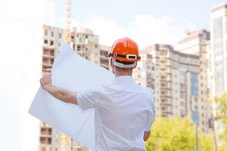 Man builder. Male construction worker ho