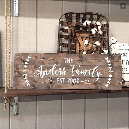 Long Wood Family Name Sign