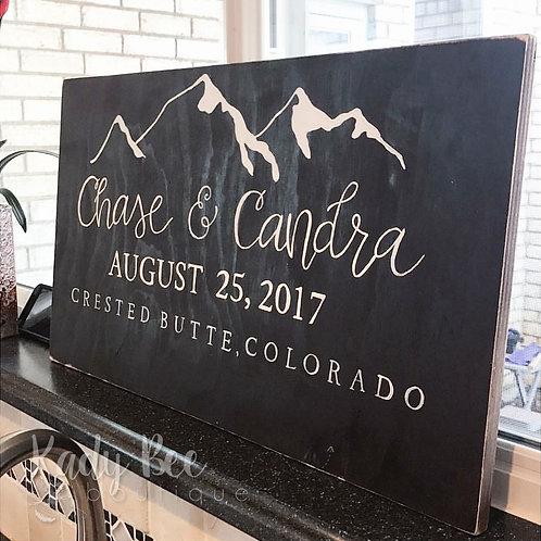 Solid Wood Wedding Sign