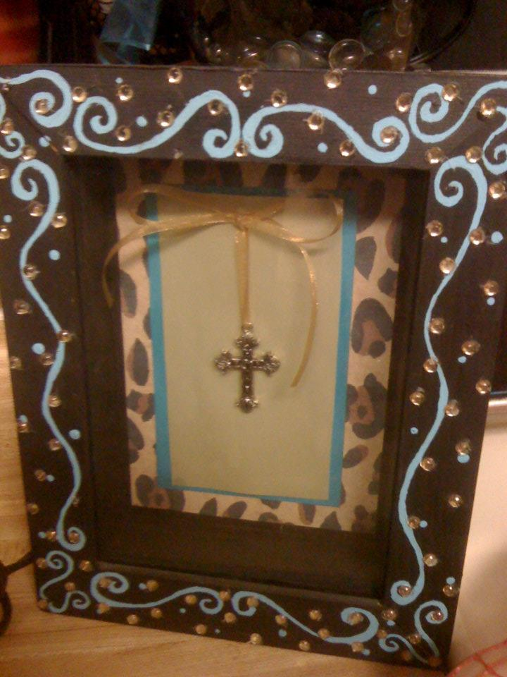 Leopard and Turquoise Shadow Box
