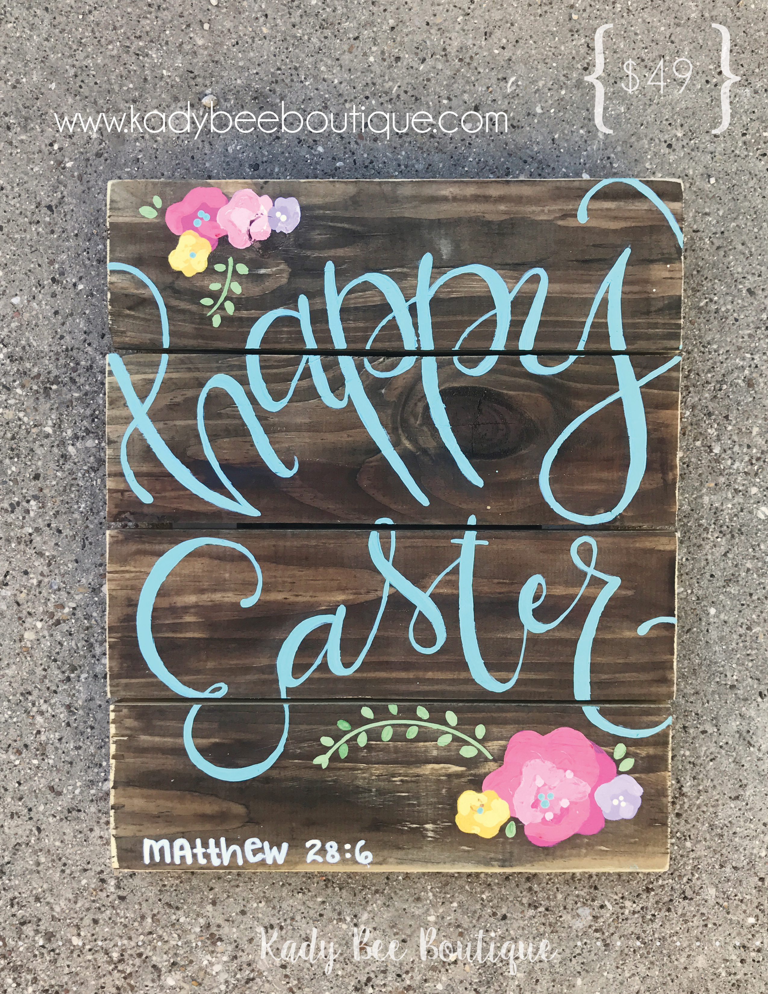 Happy Easter Wood Pallet Sign by Kady Bee Boutiqe