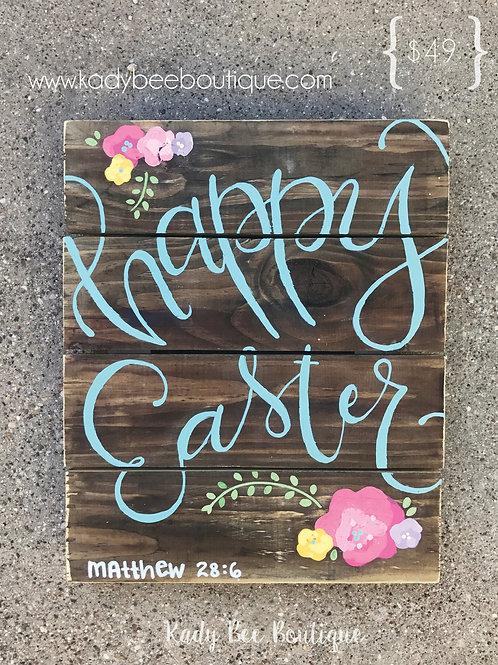 Happy Easter Floral Pallet Sign