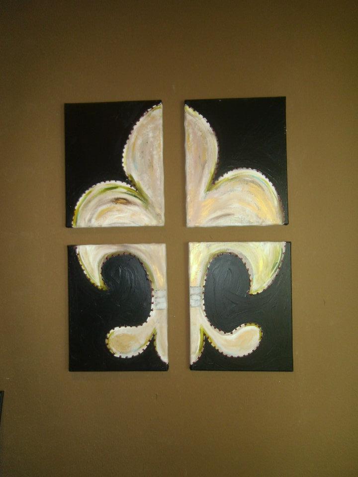 Fleur du lis on 4 piece canvas