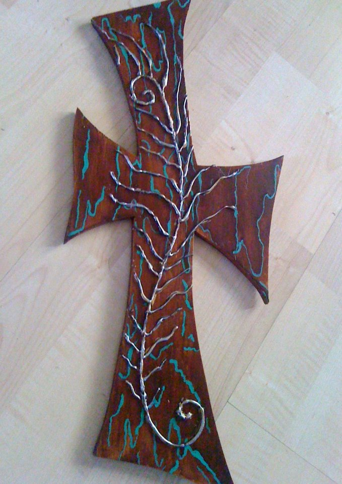 Turquoise and Metalic Feather Cross