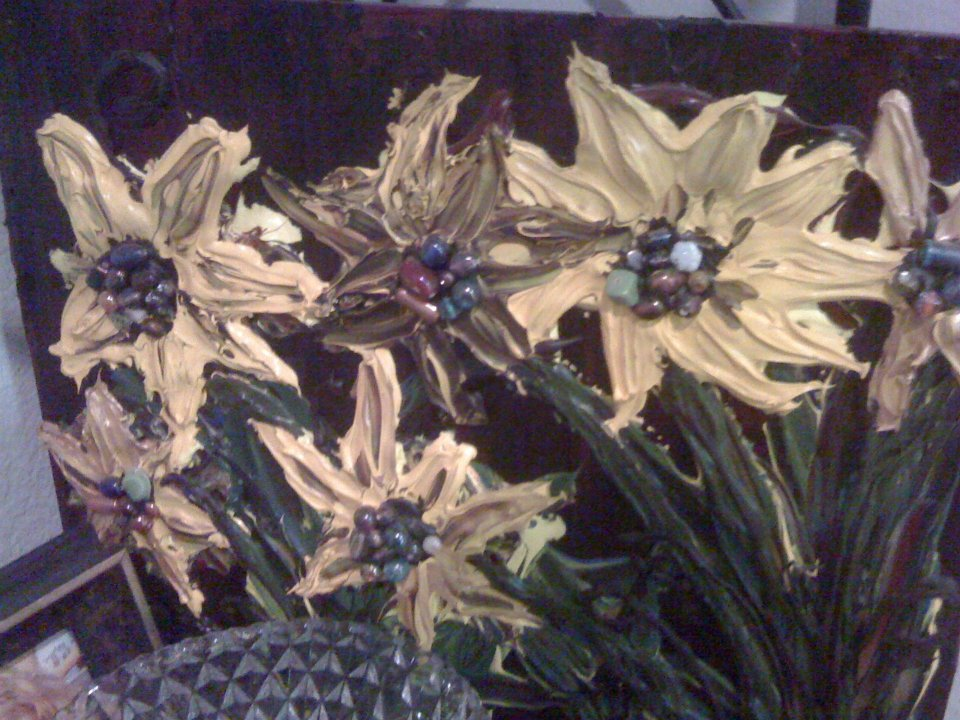 Chunky Sunflower Painting with Beads