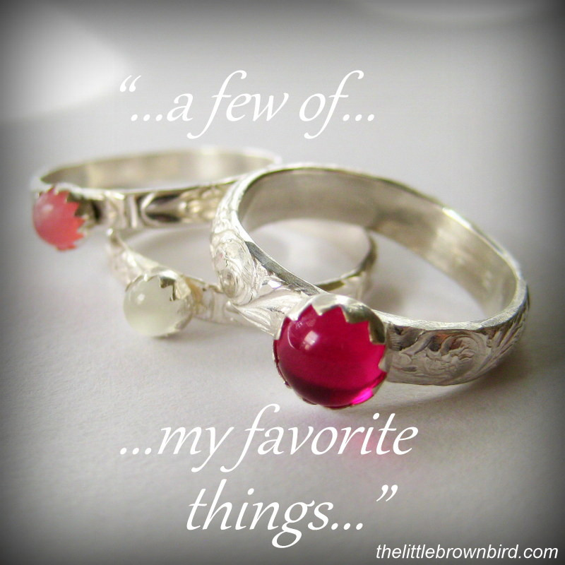 Ruby and Moonstone Stacking Rings
