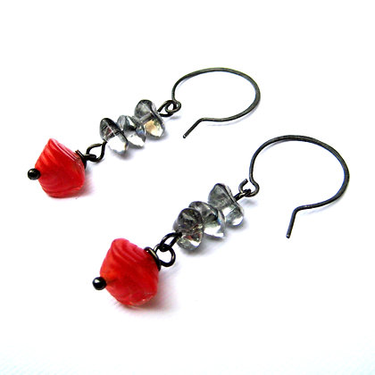 Red and Silver Pressed Glass Earrings