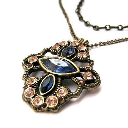 Jeweled Brass Pendant Necklace