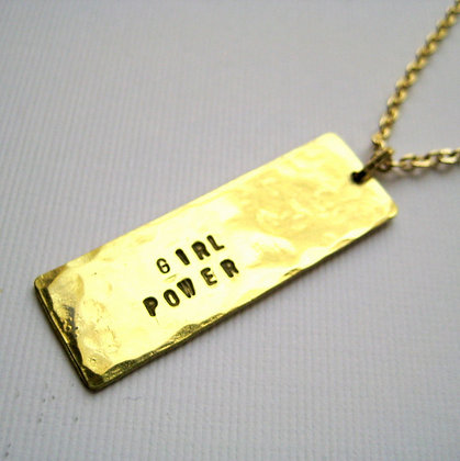 Girl Power Stamped Brass Necklace