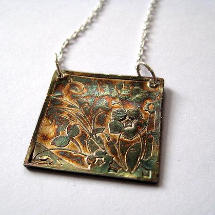 Starflower Oxidized Fine Silver Pendant Necklace