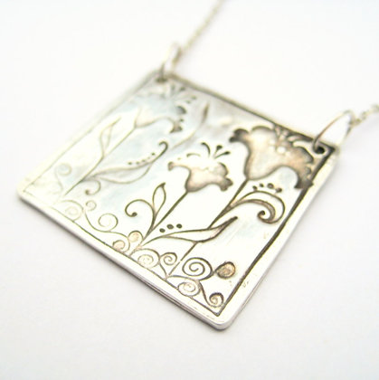 Iris Trio Fine Silver Square Pendant Necklace