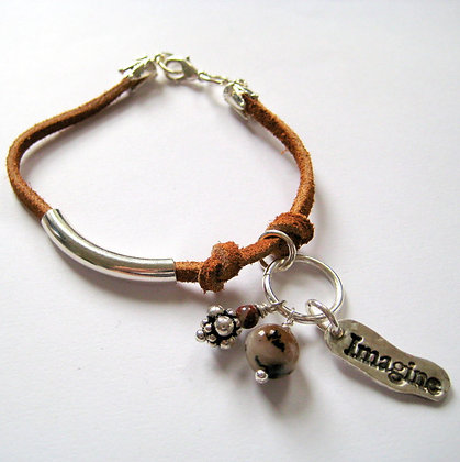 Imagine Quote Leather & Silver Charm Bracelet
