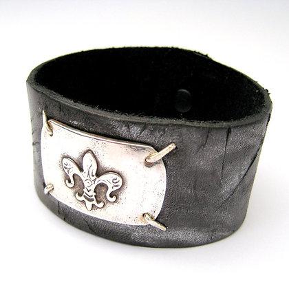 Distressed Black Leather & Silver Cuff