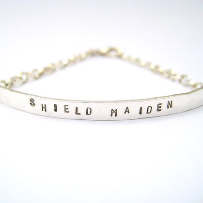 Shield Maiden Quote Silver Bracelet