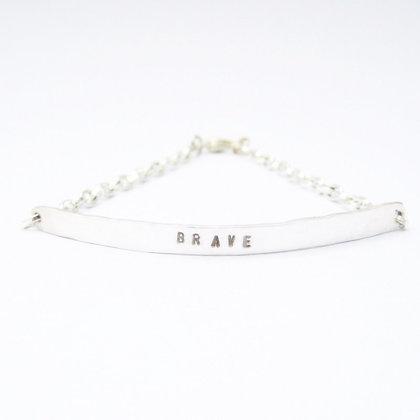 Brave Quote Silver Chain Bracelet