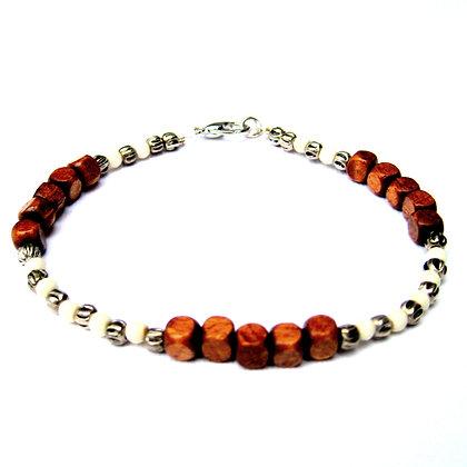 Wood & Bone Beaded Bracelet