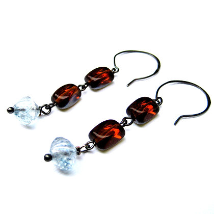 Amber and Blue Glass Earrings