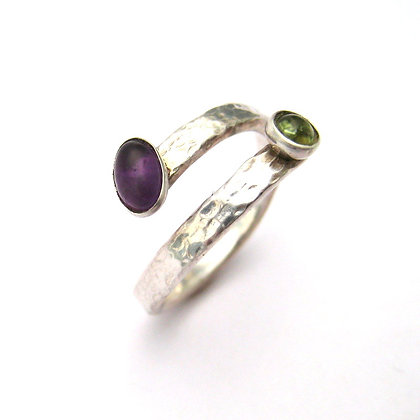 Peridot and Amethyst Hammered Silver Wrap Ring