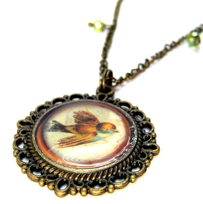 Brown Bird Brass Filigree Necklace