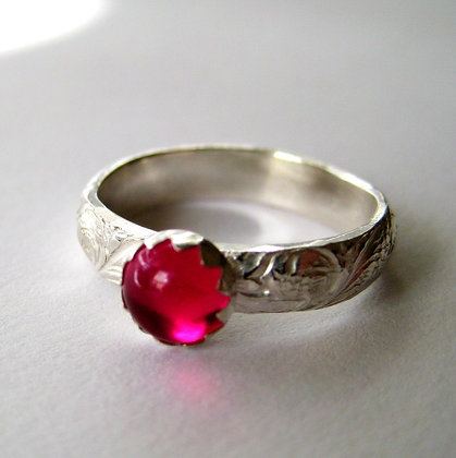 Ruby and Silver Patterned Ring